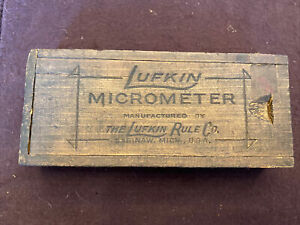 Antique Vintage Lufkin Micrometer Manufactured Lufkin Rule Co Box Only