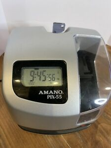 Amano Pix 55 Automatic Electronic Atomic Employee Time Clock Recorder With Key