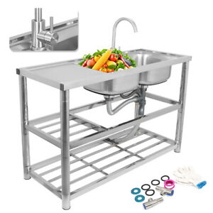 Stainless Steel Commercial Sink 2 Bowls Kitchen Catering Prep Table Double Bowl