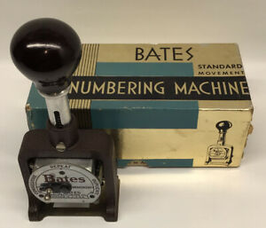 Antique Bates Numbering Machine Stamp 6 Wheels Style E Instructions Box