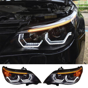 For Bmw E60 Headlights Assembly 2008 2010 Bi Xenon Lens Projector Led Drl 2pcs