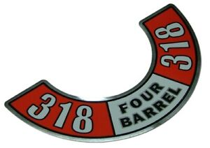 318 Four barrel Air Cleaner Decal Fits Chrysler Valiant
