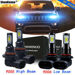 For Jeep Grand Cherokee 1999 2010 Led Headlights Combo Bulbs Hi lo Beam Ice Blue
