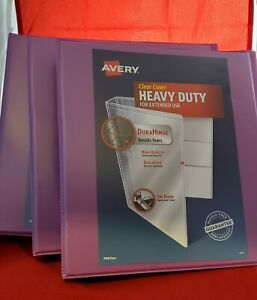 Lot Of 3 Avery 1 Heavy Duty Ring Binder With Clear Cover 8 5 X 11 Orchid