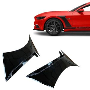 For 15 20 Ford Mustang Gt350 Style Front Side Fender Hood Vent Painted Black G1