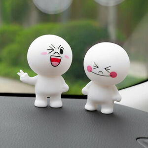 Car Toy Figure Cute Expressions Ornament Toys Vehicle Dashboard Decoration 3 Set