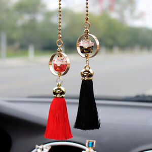 Car Pendant Lucky Cat Doll Pair Figure Tassel Rearview Mirror Hanging Decoration