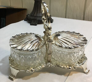 Vintage Rosalco Inc Relish Tray Silver Plate Shell Design Crystal Cups Japan