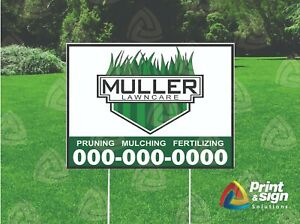 Custom Lawn Care 18 x24 Yard Sign Coroplast Printed Double Sided W Free Stand