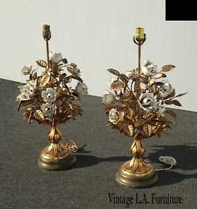 Pair Vintage Italian Tole Gold Gilt Metal White Floral Table Lamps Lights