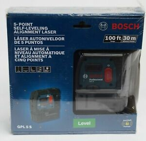 New Bosch 100 Feet 5 Point Self Leveling Plumb Square Alignment Laser Gpl5s