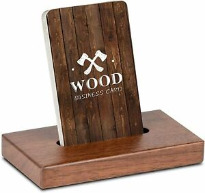 Wood Business Card Holder Desk Wooden Display Stand 2 3 X 4 3 X 0 6 Inch Walnut