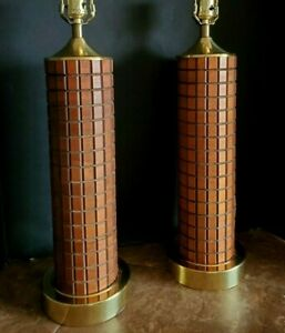 Pair Mid Century Modern Gruvwood Walnut Brass 1964 World S Fair Lamps
