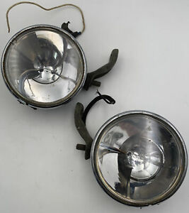 Vintage Dietz 510 Driving Fog Lights Lamp Rat Rod Pair Chrome W Mounting Brkt