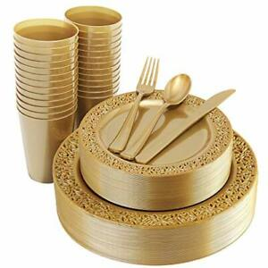 Iooooo 150 Pieces Gold Plastic Plates Silverware And Gold Disposable Cups Lac