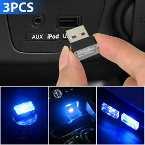 3x Mini Blue Led Usb Car Interior Light Neon Atmosphere Ambient Lamp Accessories
