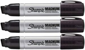Sharpie Magnum Permanent Markers Black Xylene Free Ink 3 Count