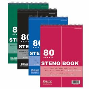 Steno Pad Green Tint Gregg Ruled Steno Book Red Cover 80 Sheets