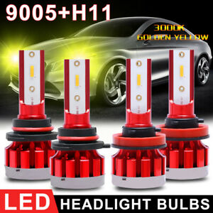4pcs Combo 9005 H11 Csp Led Headlight Kit High Low Beam Bulb Golden Yellow 3000k
