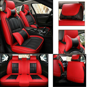 Luxury Pu Leather Car Seat Cover Full Set For 5 seats Car Suv Truck Universal Us