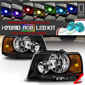 Color Strobe Led Low Beam Reflector Headlights For 2003 2006 Ford Expedition