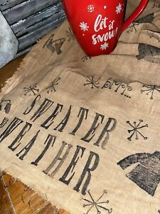 Grungy Primitive Sweater Weather Mittens Ice Snowflakes Cloth Mat Candle Tree