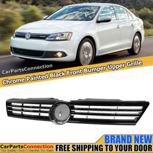 Front Center Grille For Volkswagen Jetta 11 14 Sedan Glossy Black Chrome Trim Pp