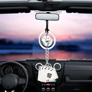 Car Pendant Dice Playing Cards Hanging Rearview Mirror Decorations Accessories