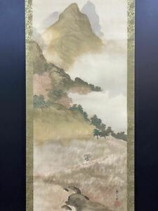 Japanese Painting Hanging Scroll Japan Landscape Vintage Old Art E304