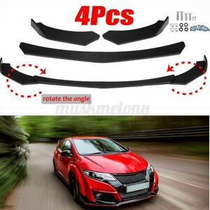 3x Front Bumper Lip Spoiler Lower Splitters Matte Black For Honda Civic 2013 20