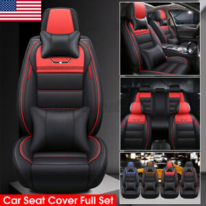 Us 5 Seats Car Cover Luxury Pu Leather Front rear Full Set Seat Cushion Mat Pad