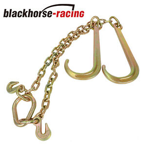 G70 V Chain 15 X 2 Large J Hooks Flatbed Tow Truck Rollback Wrecker Carrier
