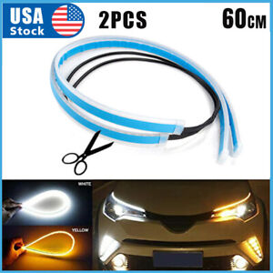 Amber Led Drl Car Styling Daytime Running Light Strip For Headlight Accessories