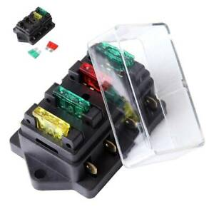 4way 12v 24v Auto Car Power Distribution Blade Fuse Holder Box Block Panel Board