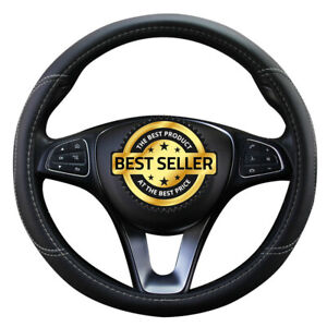 Black Red Leather Car Auto Steering Wheel Cover Anti Slip Protector For Subrau