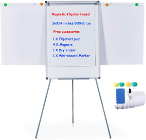 Makello Flip Chart Easel Magnetic Tripod Whiteboard Dry Erase Board With Stand