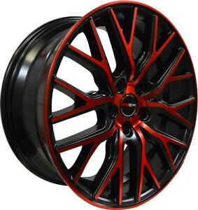 4 Gwg Wheels 22 Inch Black Red Face Flare Rims Fits Cadillac Dts 2000 2011