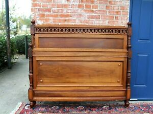 French Antique Carved Walnut Full Size Bed Bedroom Furniture