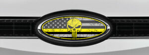 Ford Overlay Punisher Distressed Us Flag Thin Yellow Line Overlay Decals 3pc Kit