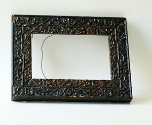 Vintage 1930s Stylized Leaves Hand Carved Wood Picture Frame
