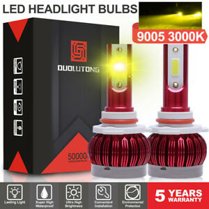 2pcs 9005 9140 Hb3 Led 6400lm 60w Headlight Bulb 3000k Yellow High Beam Foglight