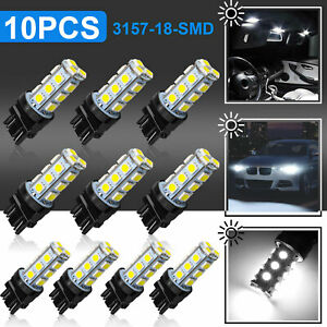 10x 3157 18 Smd Led Tail Brake Stop Backup Reverse Turn Light Bulbs 6000k White