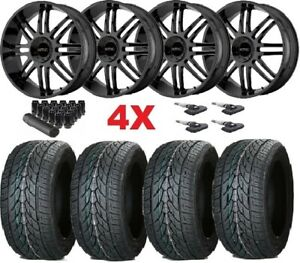 Gloss Black Wheels Rims 305 35 24 Tires Kmc F 150 Navigator Expedition Dub