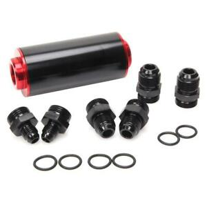 High Flow Racing Inline Fuel Filter 100 Micron Cleanable 6 8an 10an Adapters Red