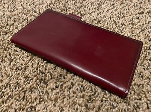 Franklin Quest Covey Burgundy Red Leather Wallet Check Book Unstructured Guc