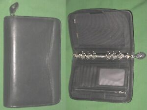 Portable 1 0 Black Leather Day Timer Planner Binder Compact Franklin Covey