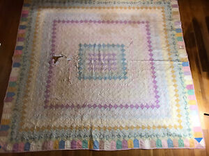 Vintage 30 S Trip Around The World Antique Quilt 75x78