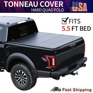 5 5 Ft Hard Quad Fold Tonneau Cover For 2015 2020 Ford F 150 Truck Bed