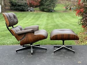 Herman Miller Eames Lounge Chair And Ottoman Rosewood Brown Leather Stunning