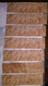 7 Pieces Of Quilted Maple Wood Veneer 10 3 4 X 2 7 8 Each Buckled
